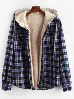 Plaid Chest Pocket Fleece Drawstring Hooded Jacket - Black S