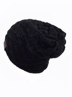 Solid Color Design Knitted Beanie - Black