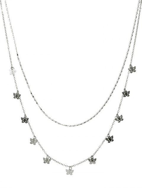 Бабочка Ажурное Двухслойное Ожерелье - Серебристый  Mobile