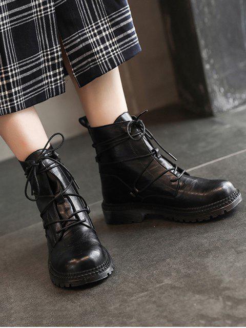 womens Plain Lace Wrap PU Leather Cargo Boots - BLACK EU 35 Mobile