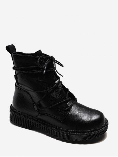 lady Plain Lace Wrap PU Leather Cargo Boots - BLACK EU 37 Mobile