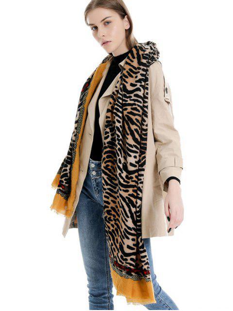 Echarpe Longue d'Hiver Tigre Imprimé à Chaîne - Jaune Clair Ordinaire Mobile