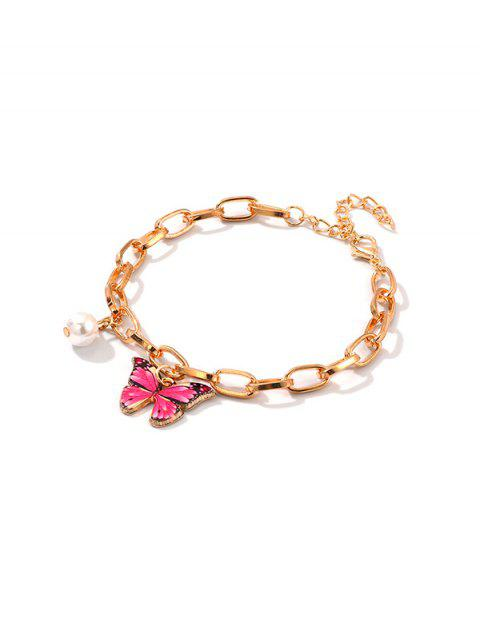 hot Butterfly Punk Chain Bracelet - ROSE RED  Mobile