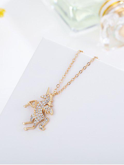 Collier en Forme de Licorne avec Strass - Or  Mobile