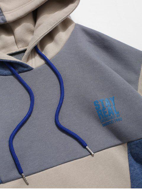 Sweat à Capuche Décontracté Lettre Imprimée en Couleur Jointive à Cordon - Multi-A S Mobile