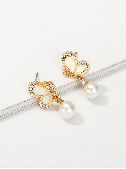 Künstliche Perlen Strass Schmetterlings-Form-Bolzen-Ohrringe - Gold  Mobile