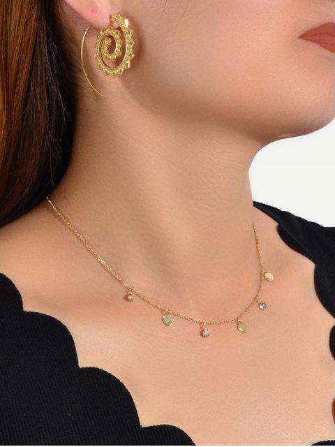 Hohle Spirale Ohrringe Herz-Halskette Set - Gold  Mobile