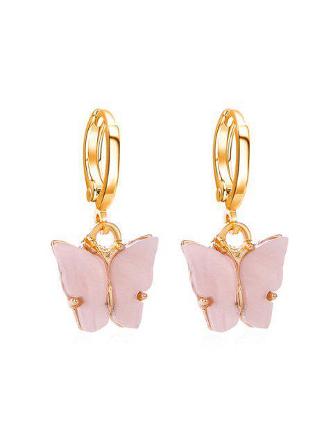 sale Butterfly Small Hoop Drop Earrings - PIG PINK  Mobile