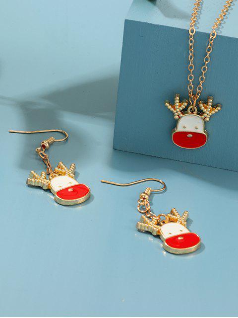 Weihnachtsmuster-Ketten-Halskette und Haken Ohrringe - Multi-A  Mobile