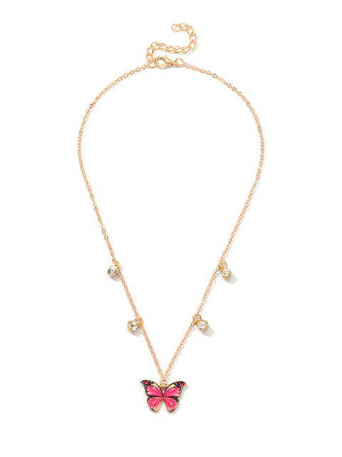 Collier Papillon Pendant avec Strass - Rouge Rose  Mobile