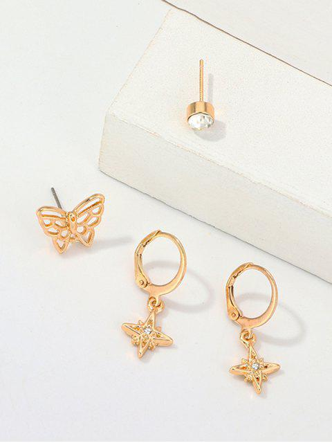 Schmetterlings-Stern-Strass-Ohrring-Set - Gold  Mobile