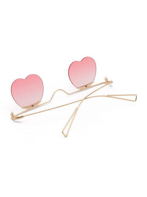 Lunettes de Soleil Cœur Dégradées en Métal - Rose   Mobile