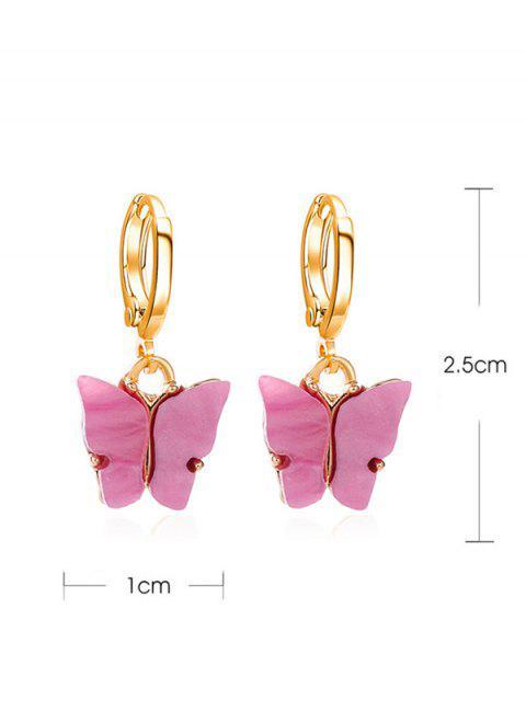 Schmetterling Kleine Band-Tropfen-Ohrringe - Helle Neon Rosa  Mobile