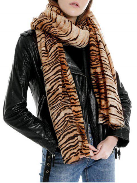 lady Tiger Printed Faux Wool Shawl Scarf - BROWN REGULAR Mobile