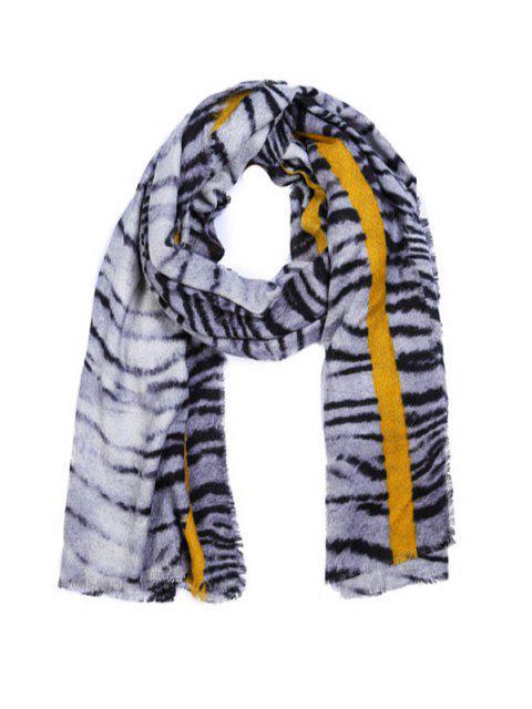 chic Tiger Printed Faux Wool Shawl Scarf - WHITE REGULAR Mobile