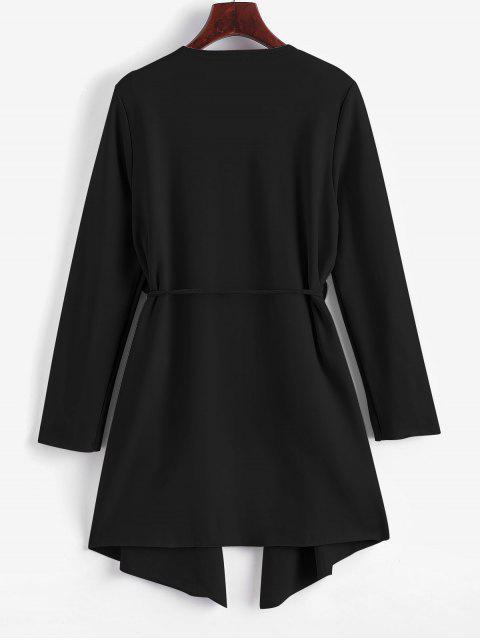 Manteau Cascade Ceinturé Jointif avec Poches - Noir L Mobile