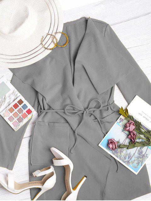 Manteau Cascade Ceinturé Jointif avec Poches - Nuage Gris S Mobile