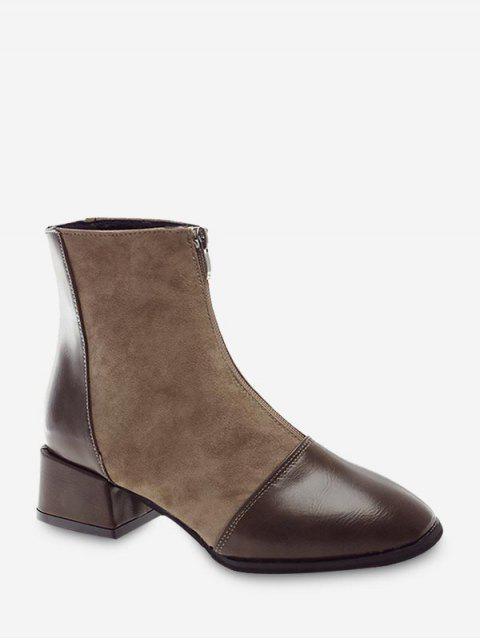 fashion Zip Front Block Heel Patchwork Boots - KHAKI EU 35 Mobile