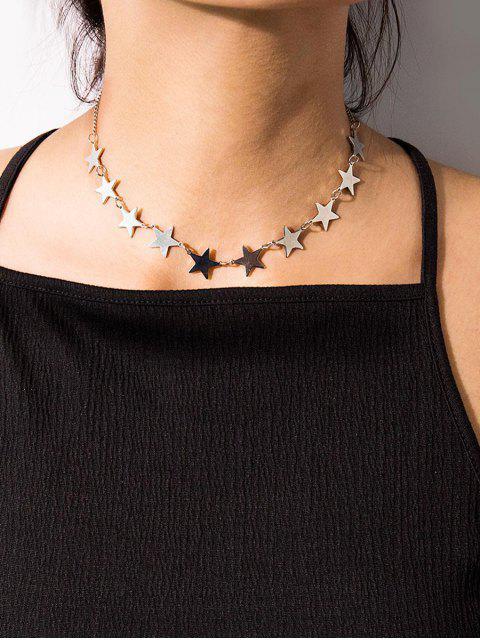 Звезда Цепь Ожерелье на ключице - Серебристый  Mobile