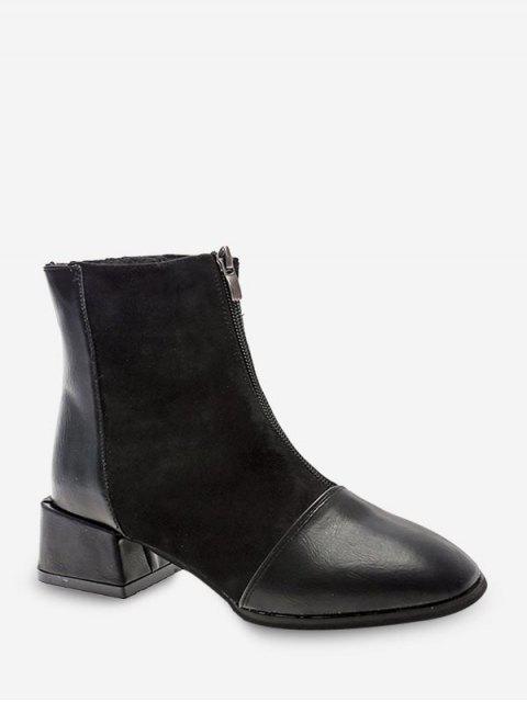 ladies Zip Front Block Heel Patchwork Boots - BLACK EU 38 Mobile