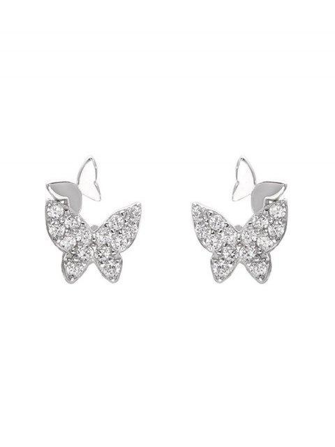Горный хрусталь Форма бабочки Серьги-пусеты - Серебряный  Mobile