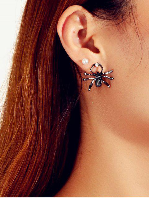 Искусственный жемчуг Горный хрусталь Форма паука Серьги-пусеты Набор - Чёрный  Mobile