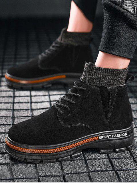 shops High Top Knitted Edge Solid Boots - BLACK EU 40 Mobile