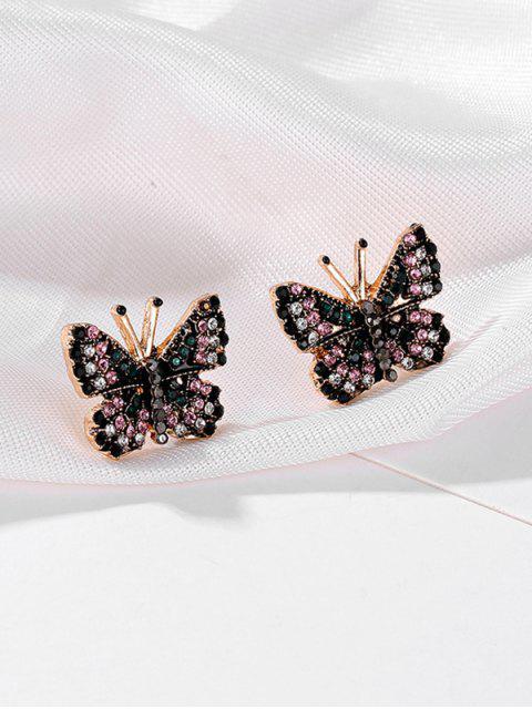 Красочный горный хрусталь Форма бабочки Серьги - Золотой  Mobile
