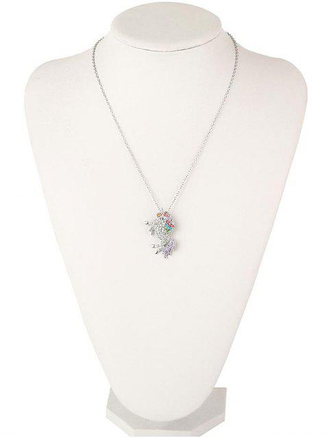 buy Rhinestone Unicorn Necklace - SILVER  Mobile