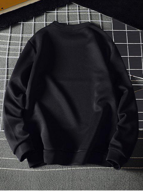 Tiny Sun impresión sudadera pulóver Sólido - Negro L Mobile