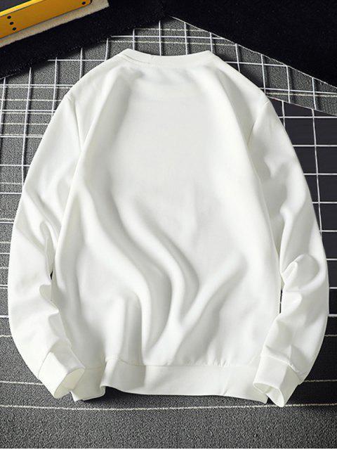 Tiny Sun impresión sudadera pulóver Sólido - Blanco L Mobile