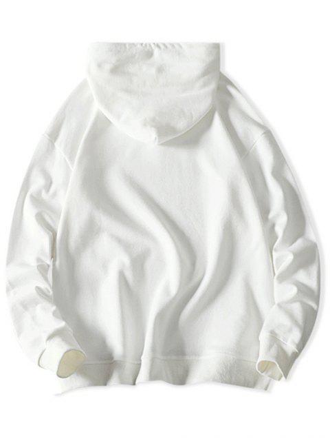 Gato Carta de Colorblock ocasional de la impresión con capucha con cordón - Blanco S Mobile