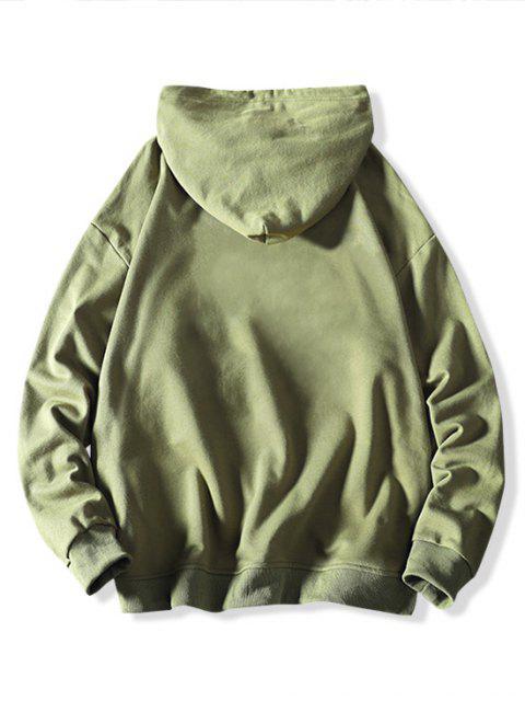 Gato Carta de Colorblock ocasional de la impresión con capucha con cordón - Verde de Mar  XS Mobile