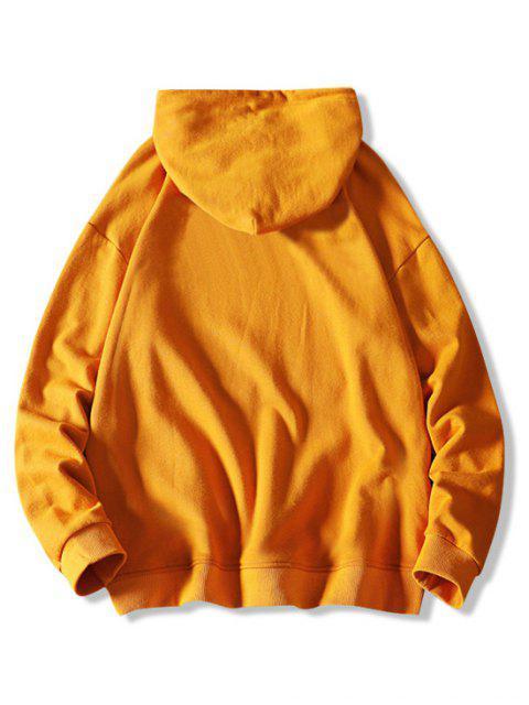 Gato Carta de Colorblock ocasional de la impresión con capucha con cordón - Amarillo Brillante M Mobile