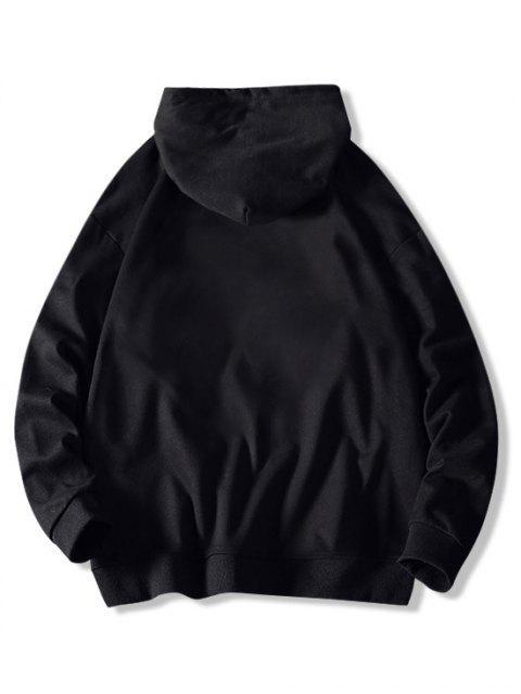 Gato Carta de Colorblock ocasional de la impresión con capucha con cordón - Negro M Mobile