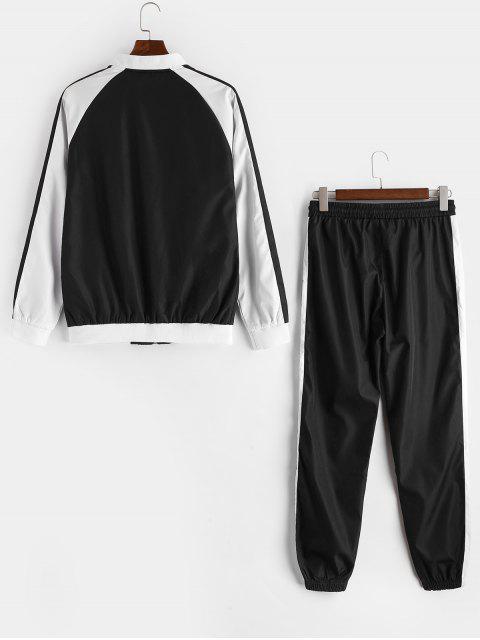 Chaqueta y pantalones del basculador colorblock empalmado manga raglán - Negro M Mobile