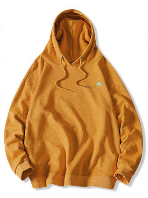 El tiempo la impresión del modelo de lazo con capucha - Amarillo Brillante M Mobile