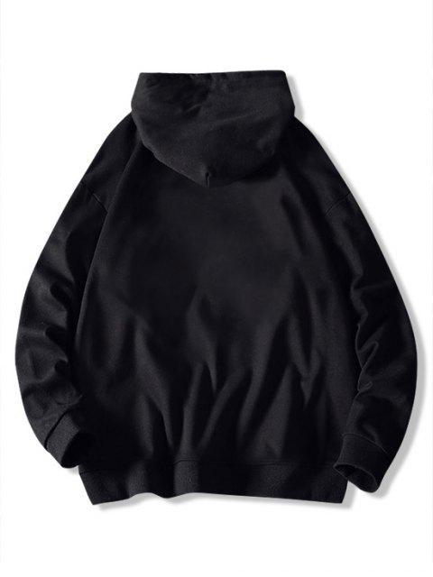 El tiempo la impresión del modelo de lazo con capucha - Negro M Mobile