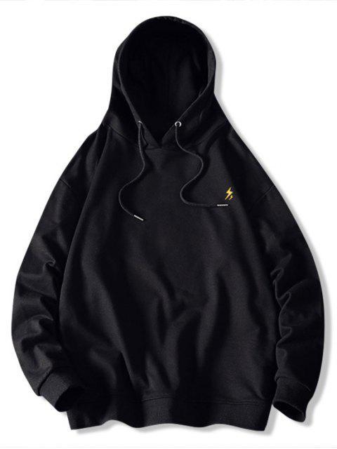 El tiempo la impresión del modelo de lazo con capucha - Negro XL Mobile