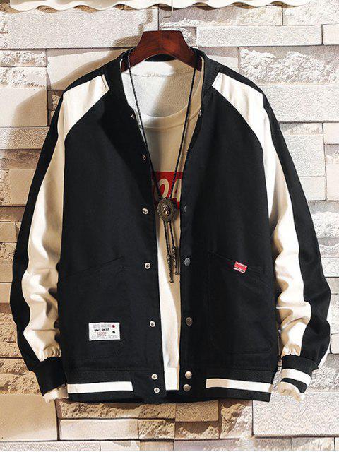 shops Color Spliced Button Up Pocket Jacket - BLACK XS Mobile