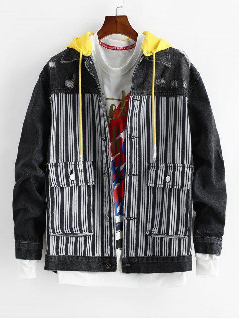 hot Striped Pattern Pocket Decorated Denim Jacket - DENIM DARK BLUE M Mobile