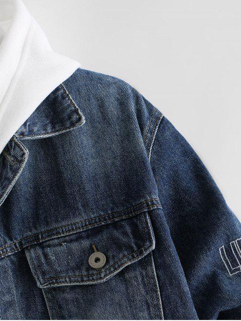 Veste Boutonnée Lettre Brodée en Denim - Bleu Foncé Toile de Jean XL Mobile