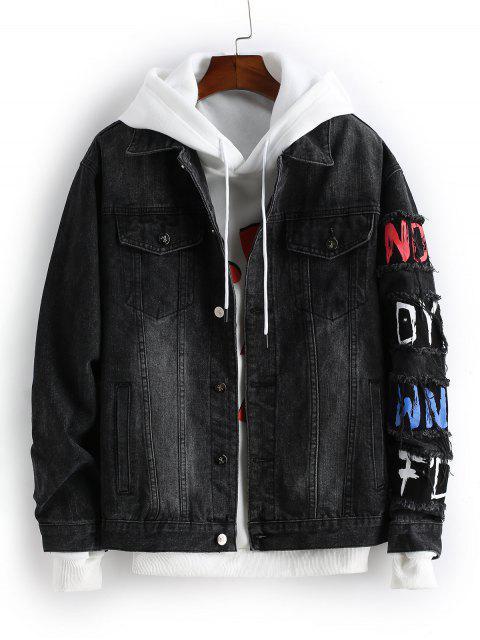 sale Letter Pattern Button Decoration Denim Jacket - BLACK M Mobile