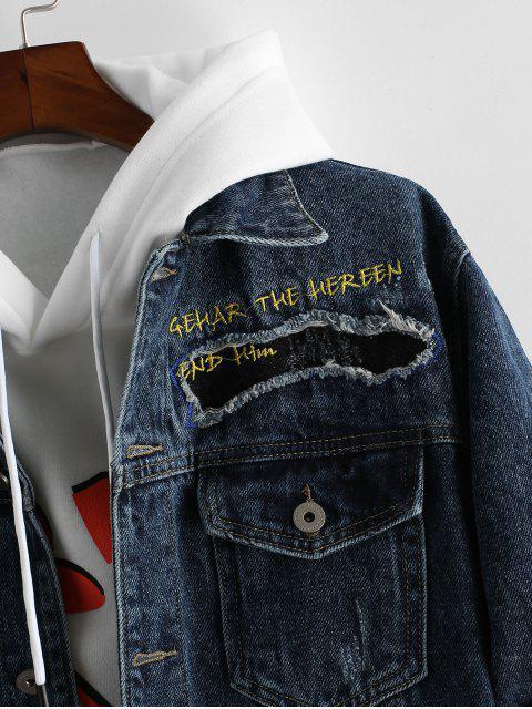 Veste Lettre Brodée avec Poche Design en Denim - Bleu Foncé Toile de Jean 4XL Mobile