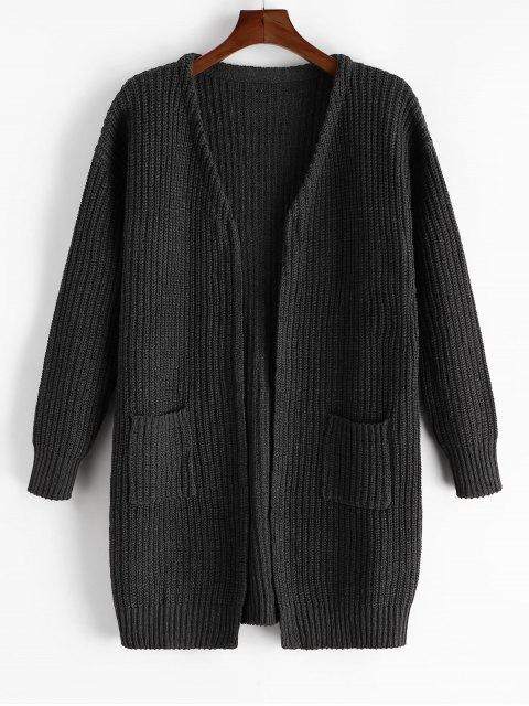 women Plain Open Front Pockets Longline Cardigan - CARBON FIBER BLACK 2XL Mobile
