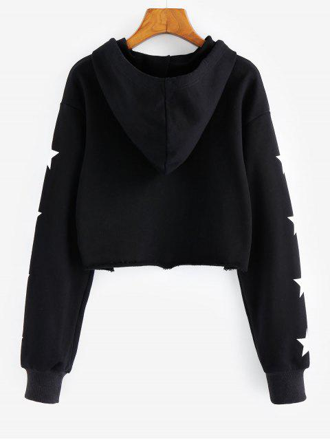 sale ZAFUL Stars Planet Print Cropped Graphic Hoodie - BLACK M Mobile