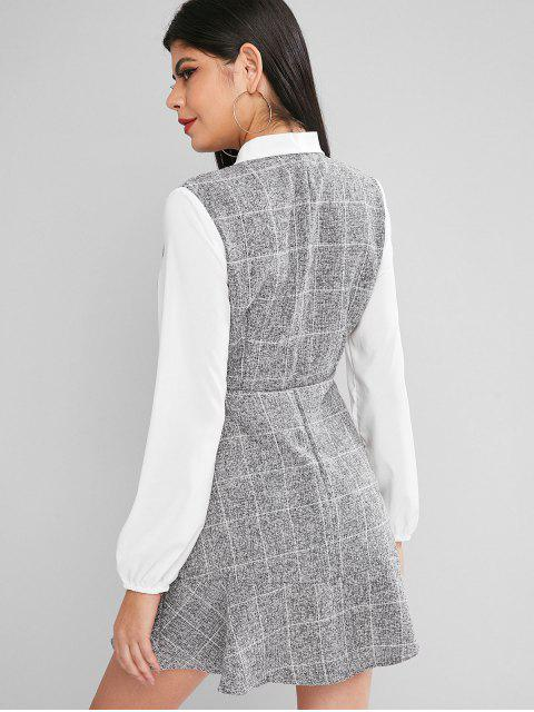 outfit Bow Tie Plaid Flounce Lantern Sleeve Dress - GRAY L Mobile