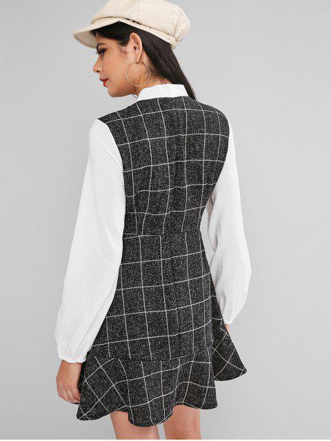 Pajarita tela escocesa del volante del vestido de la manga de la linterna - Negro M Mobile