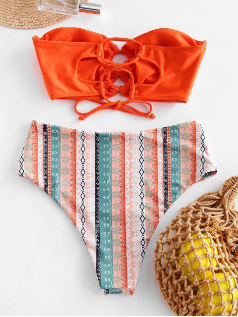 ZAFUL junta tórica de la impresión de alta corte palabra de honor de traje de baño - Naranja 2XL Mobile