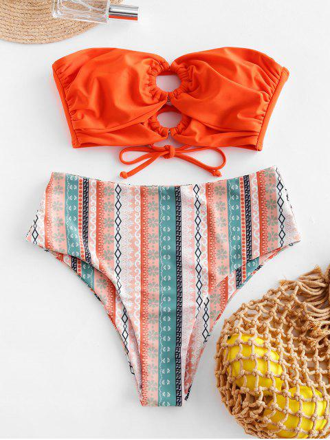 ZAFUL junta tórica de la impresión de alta corte palabra de honor de traje de baño - Naranja XL Mobile